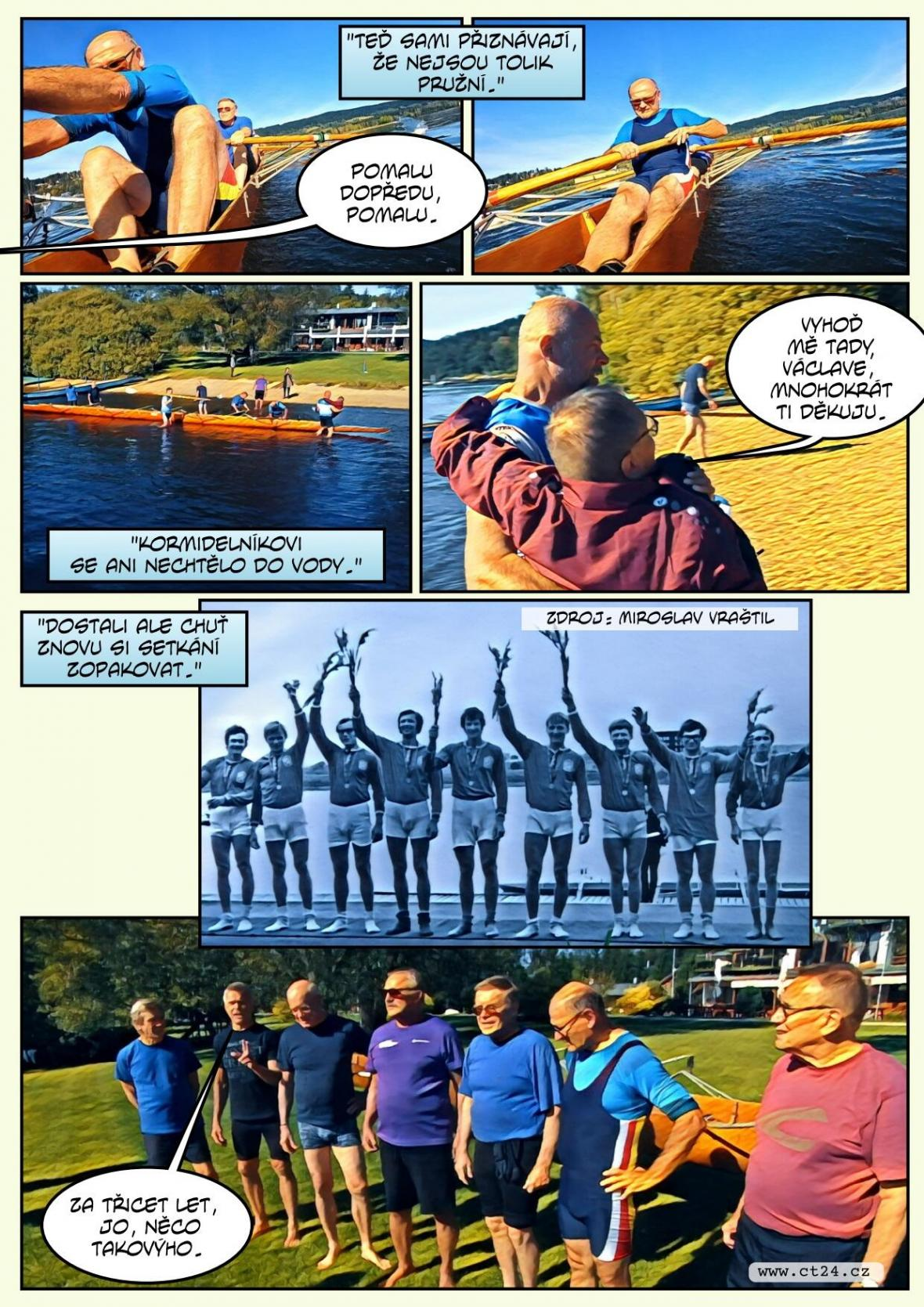 Jako zamlada. Bývalí veslaři se po půl století projeli na lodi, ve které se stali vicemistry Evropy