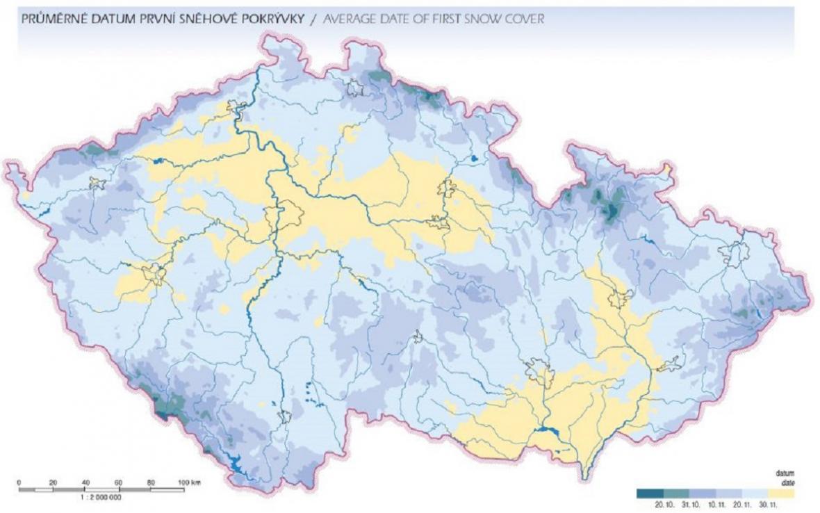 Průměrné datum prvního sněžení a první sněhové pokrývky