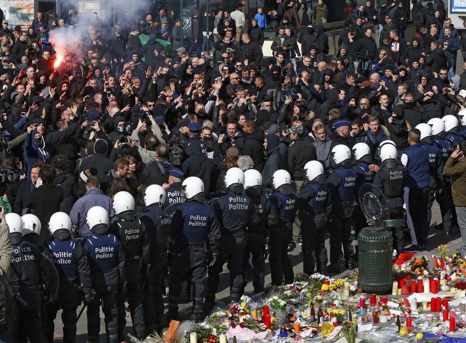 Demonstrace krajní pravice v Bruselu
