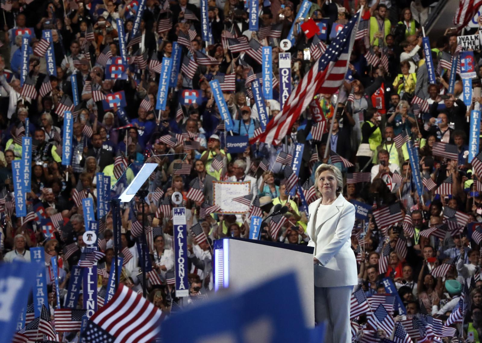 Hillary Clintonová během své nominační řeči