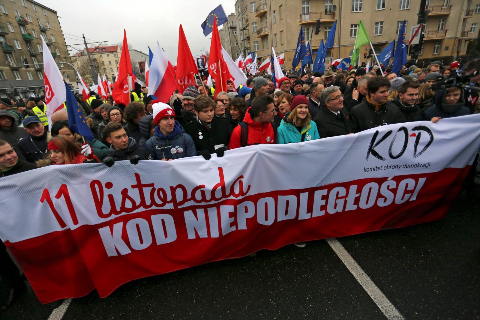 Protest organizovaný Výborem na obranu demokracie