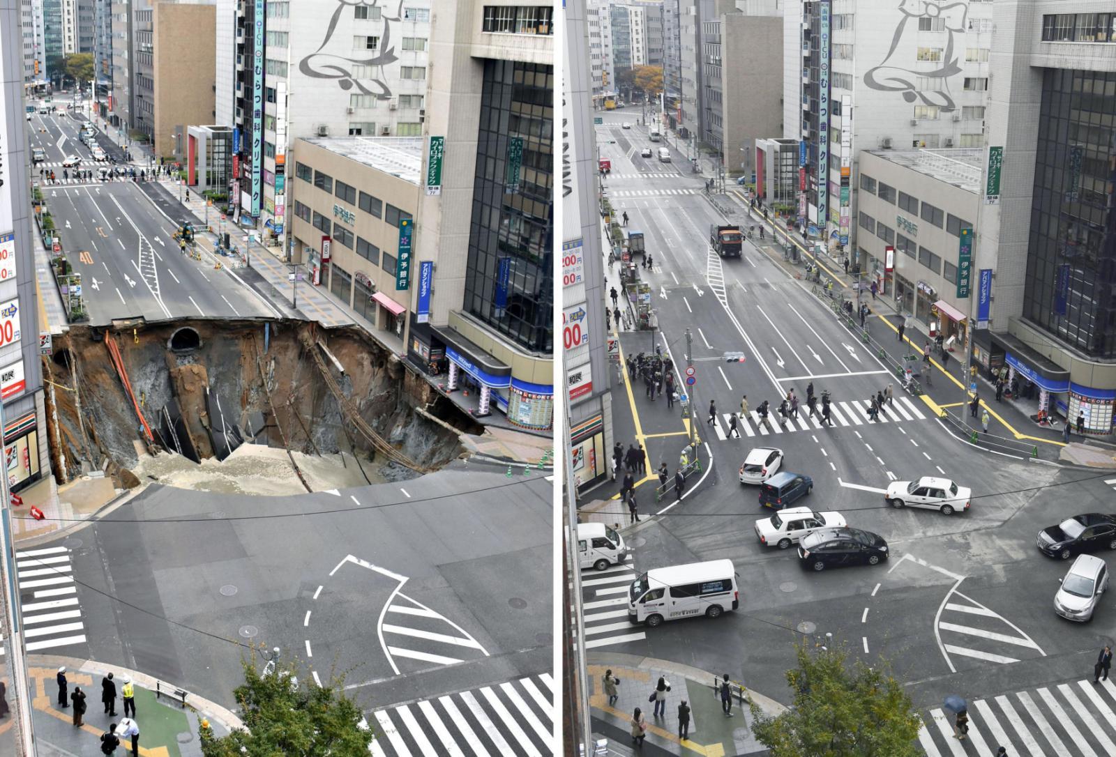 Opravená silnice ve městě Fukuoka