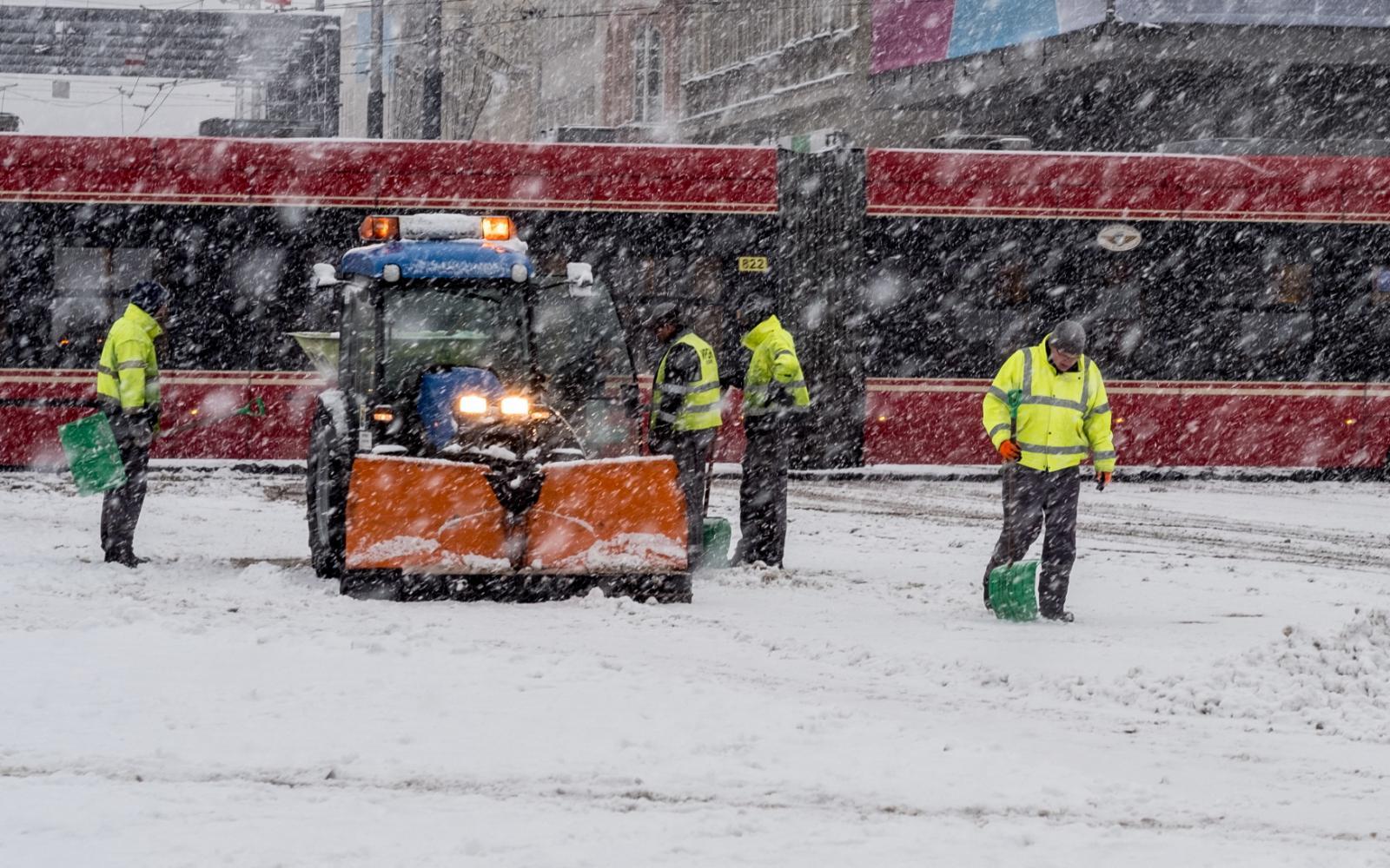 Polské Katowice pod sněhem