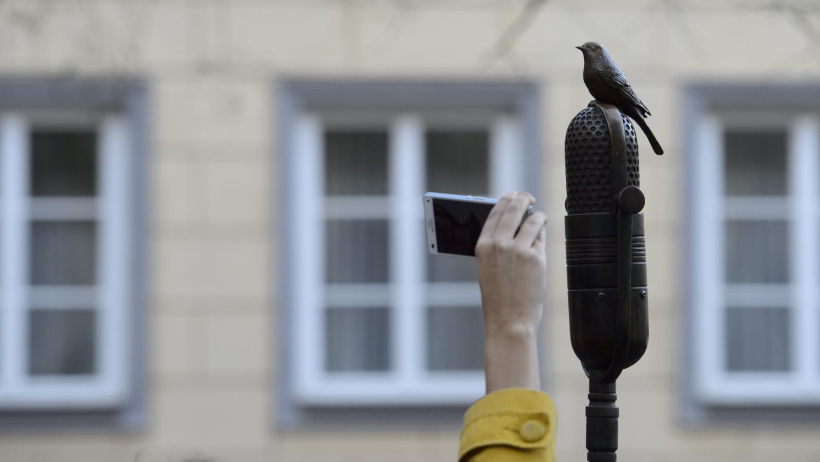 Horní část pomníku - skřivan na mikrofonu
