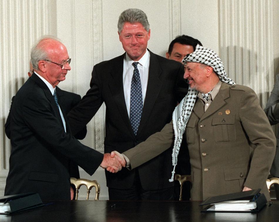 Jicchak Rabin,  Bill Clinton a Jásir Arafat (1995)