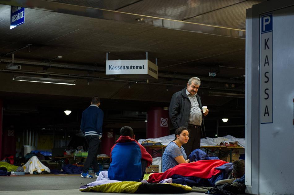 Uprchlíci na nádraží v Salcburku