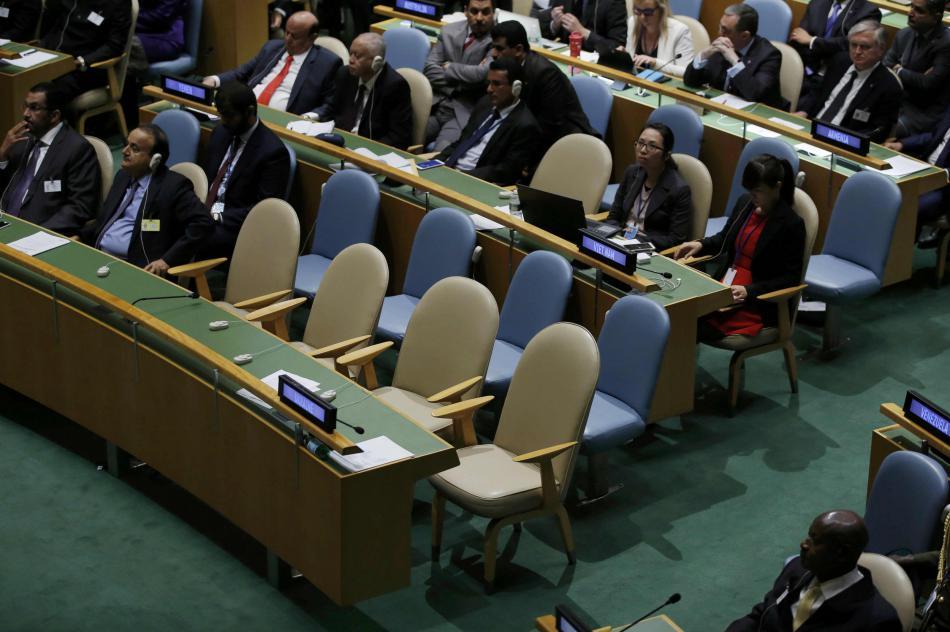 Ukrajinská delegace během projevu Putina opustila sál
