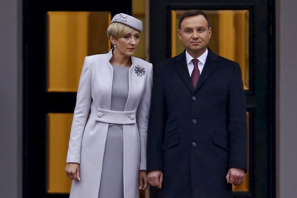 Andrzej Duda s manželkou Agatou Kornhauserovou-Dudovou