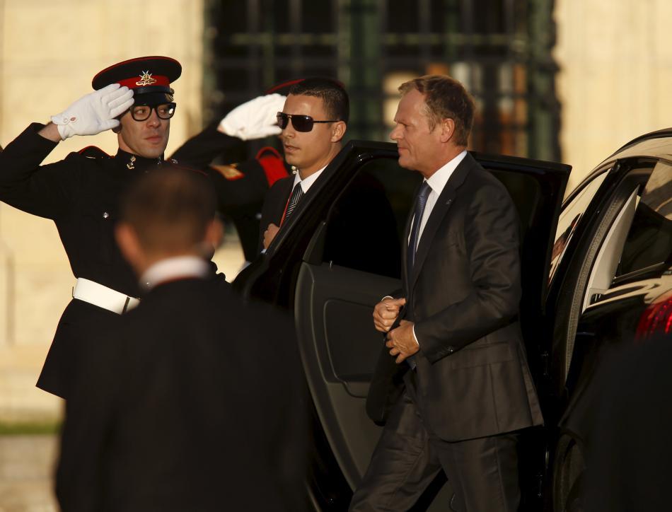 Donald Tusk po příjezdu na maltský summit