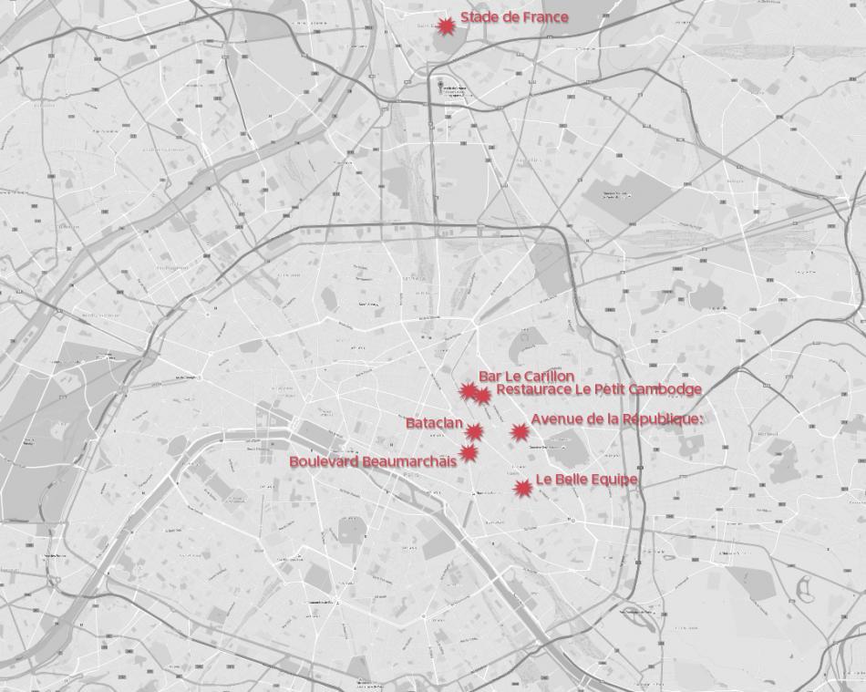 Místa útoků v Paříži