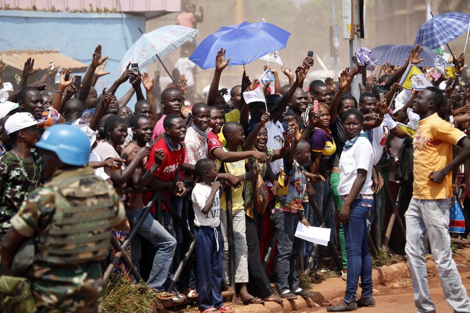 Uvítání papeže Františka v Bangui