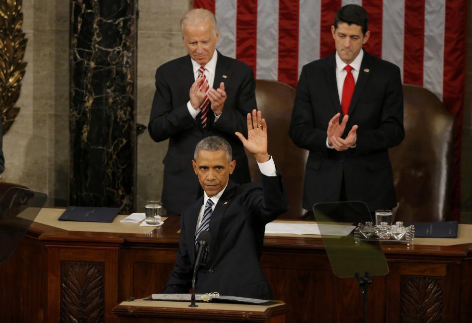 Barack Obama během projevu o stavu Unie