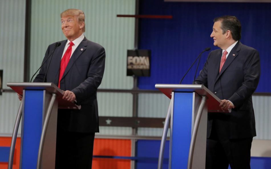 Trump a Cruz během televizní debaty