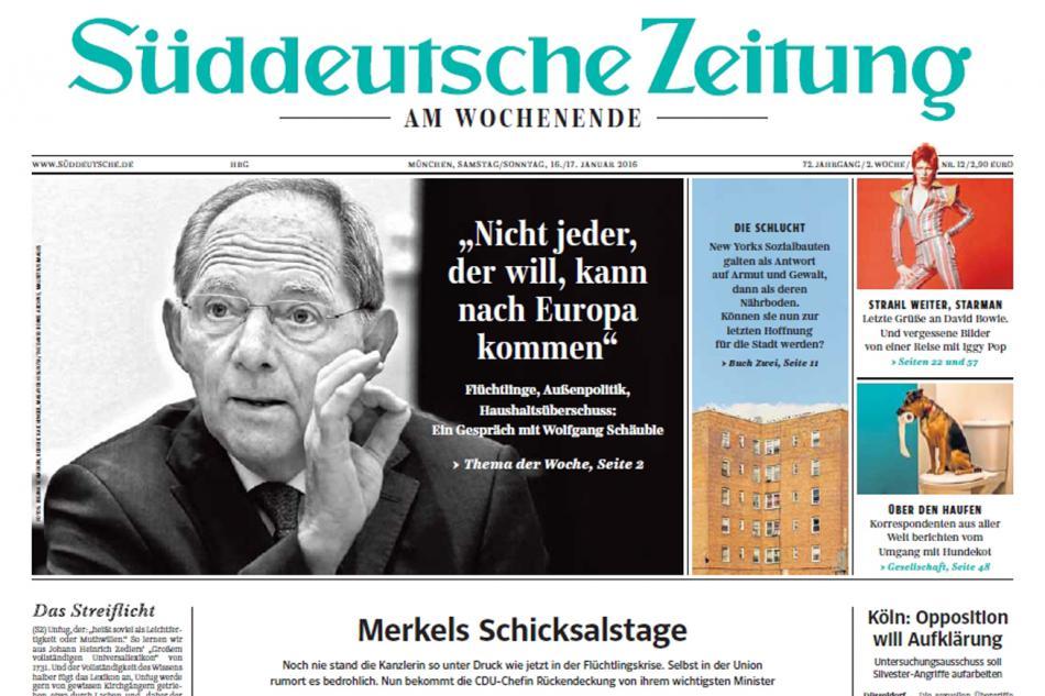Deník Süddeutsche Zeitung přinesl rozhovor s Wolfgangem Schäublem