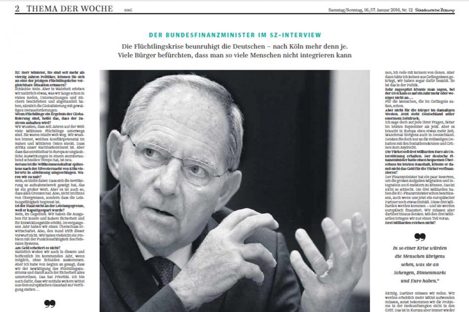 Rozhovor Wolfganga Schäubleho pro Süddeutsche Zeitung