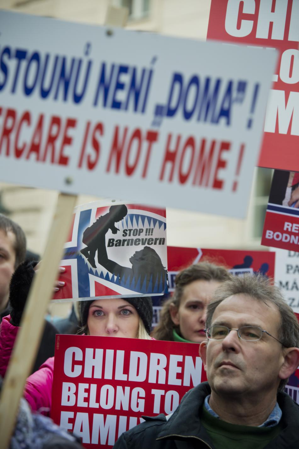 Demonstrace proti jednání Barnevernetu