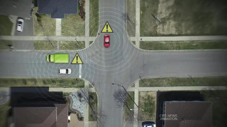 Animace technologie, která má zabránit srážce aut
