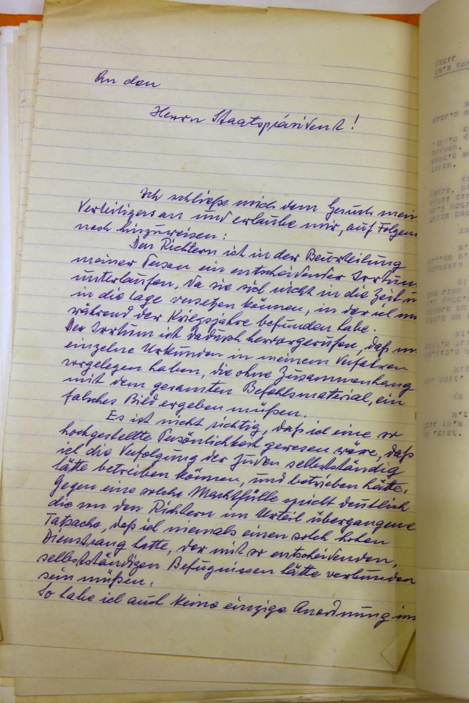 Eichmannův dopis s žádostí o milost