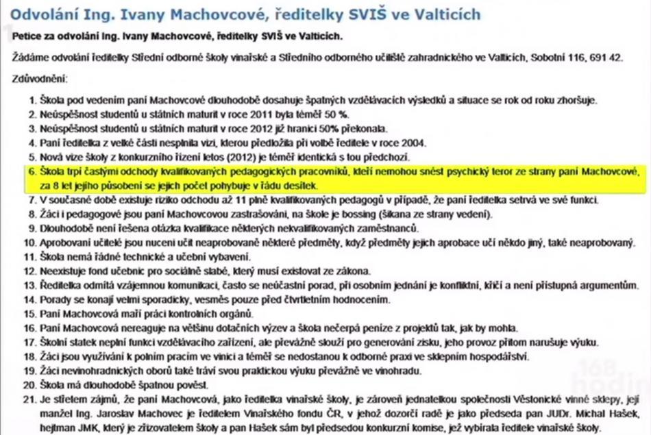 Výňatek z petice požadující odvolání Ivany Machovcové