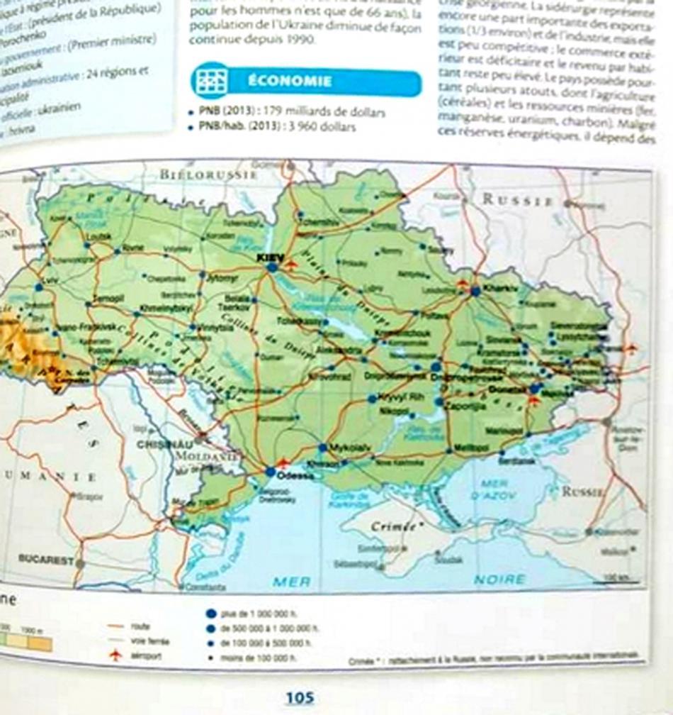 Krym jako součást Ruska v atlase vydavatelství Larousse