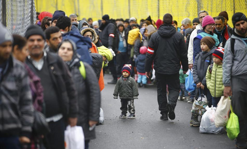Uprchlíci na slovinsko-rakouském přechodu Spielfeld