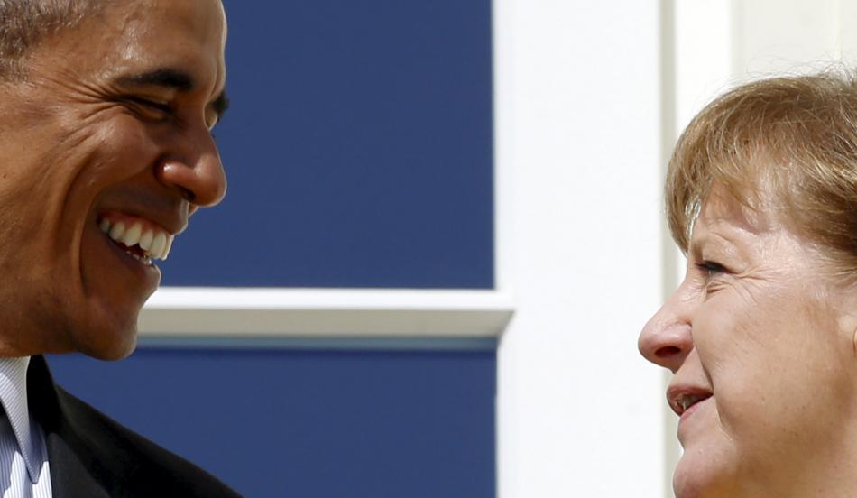 Obama a Merkelová během setkání v Hannoveru