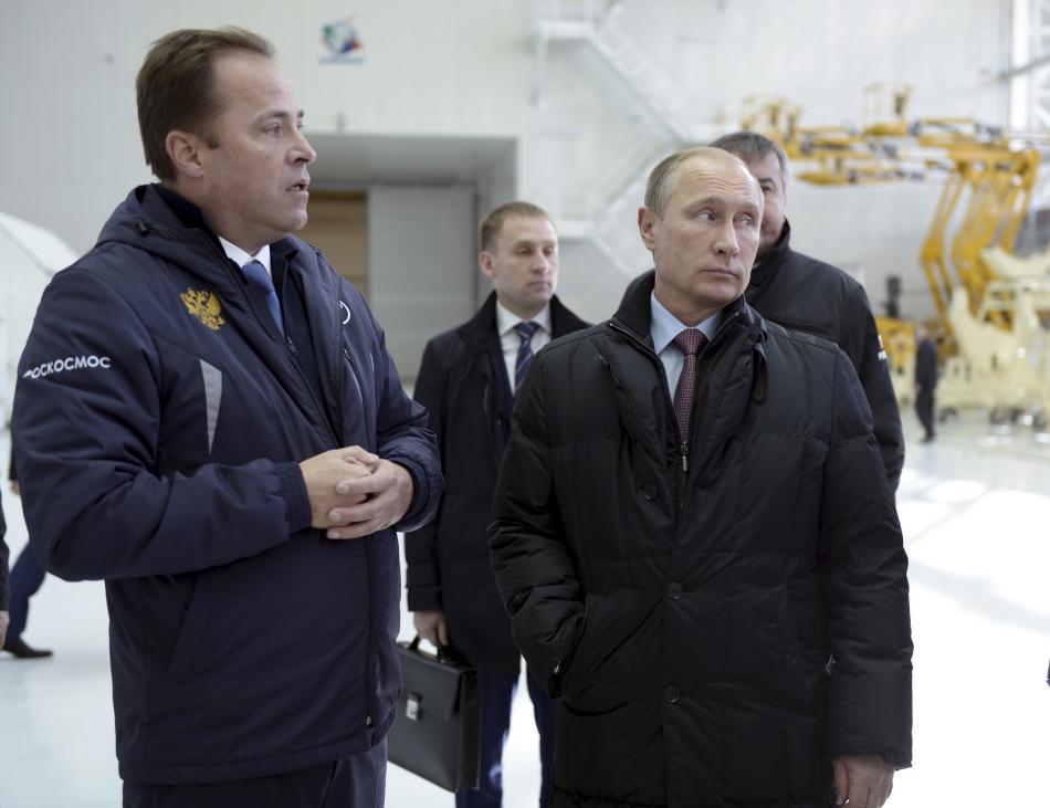 Vladimir Putin při inspekci areálu v roce 2015