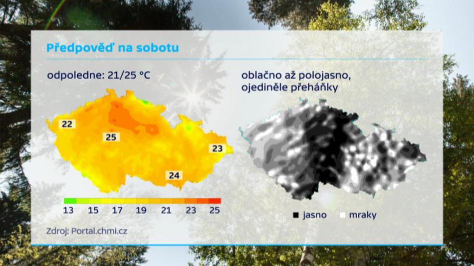 Teplotní mapa pro sobotu