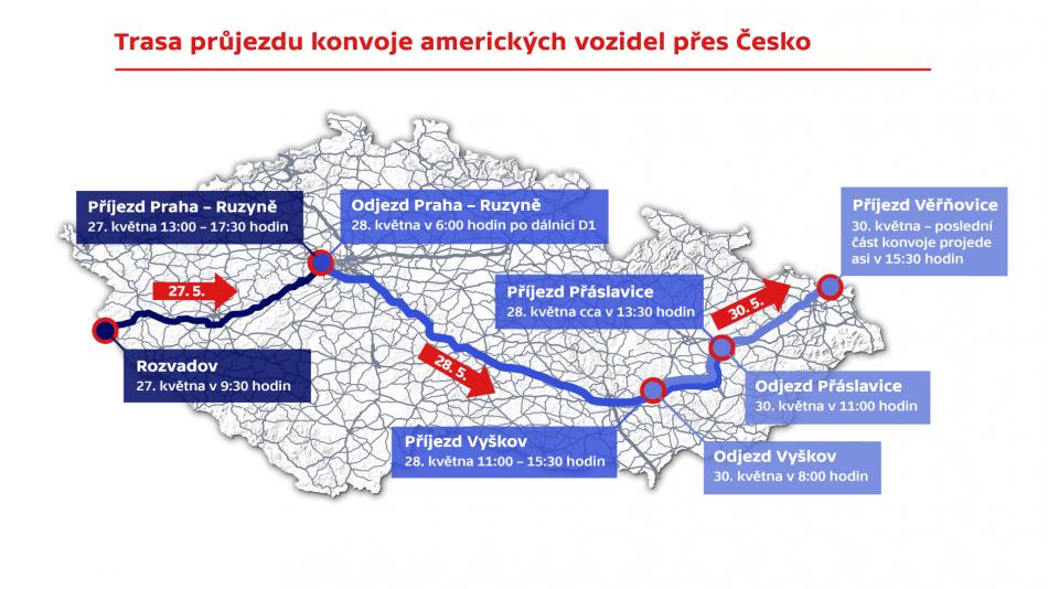 Trasa průjezdu konvonje amerických vozidel přes Česko
