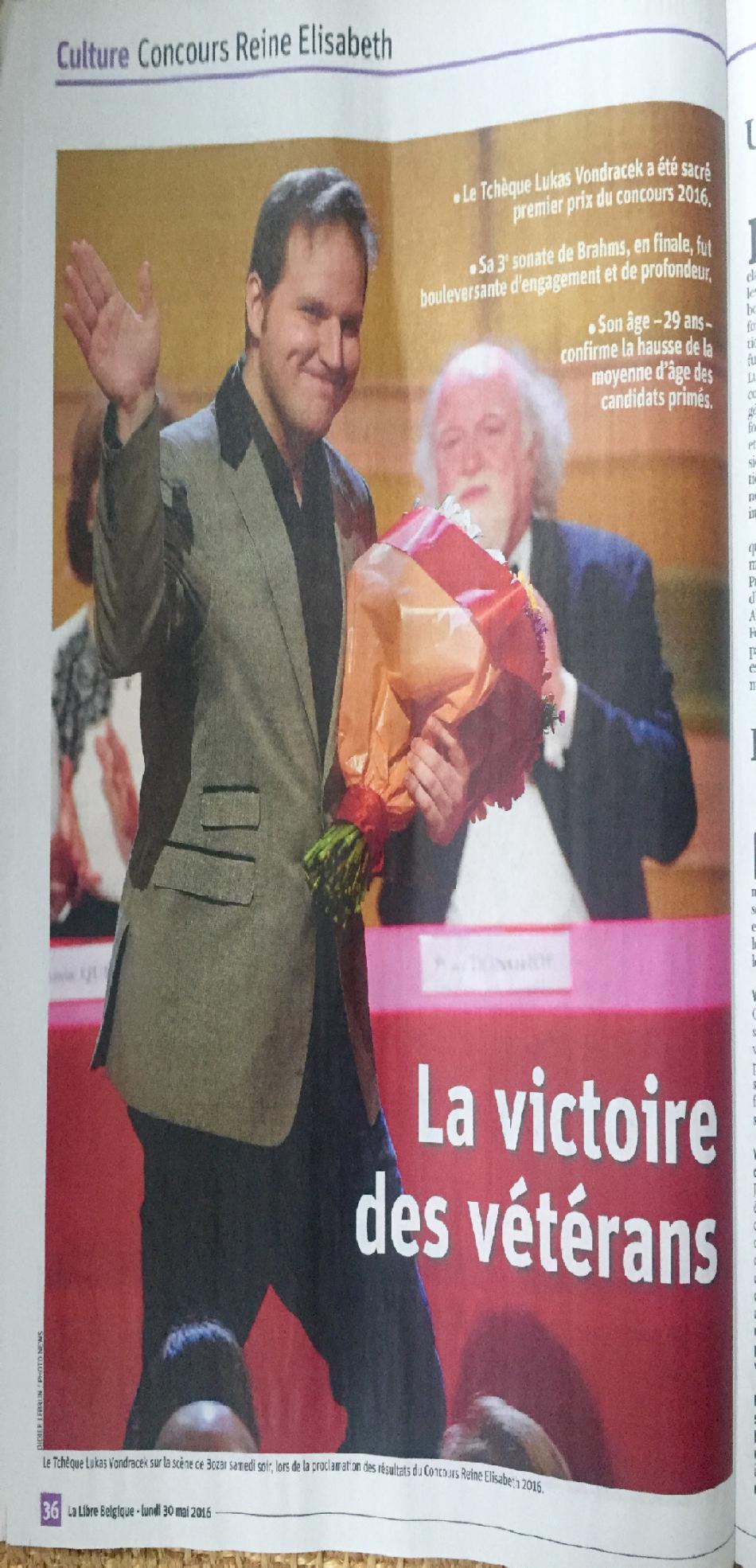 Belgické noviny La Libre Belgique píší o vítězství klavíristy Lukáše Vondráčka