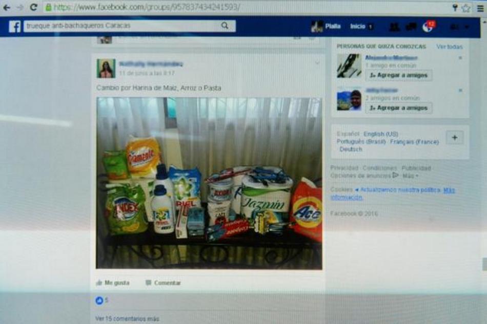 Jedna z Facebookových stránek pro směnný obchod