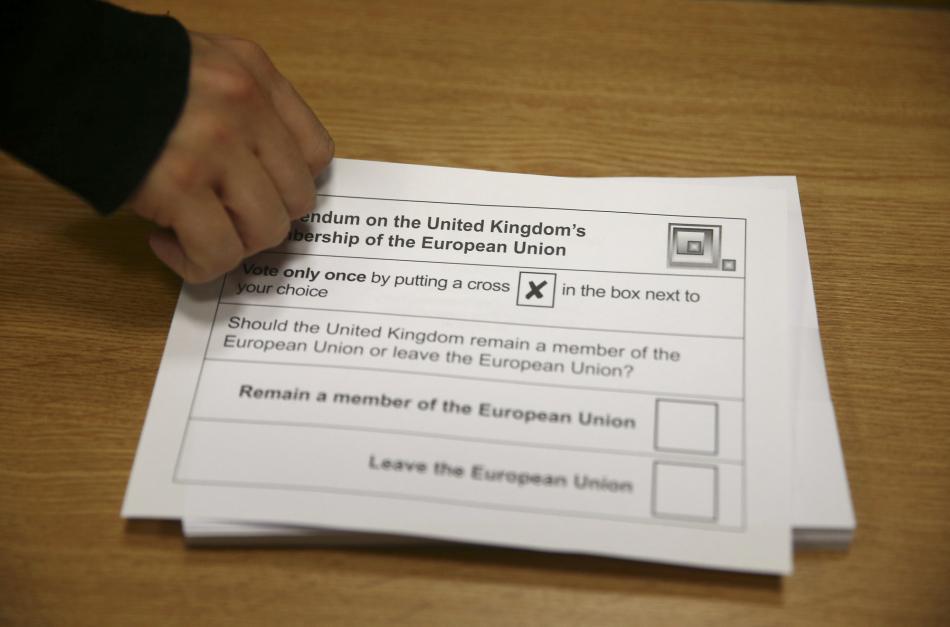 Hlasovací lístek britského referenda