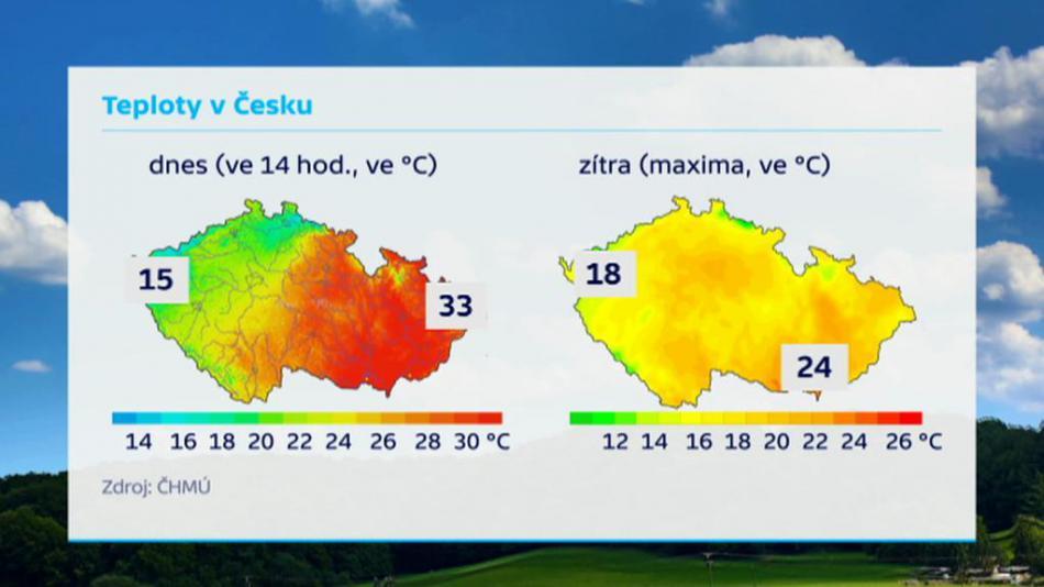 Teplotní propad mezi sobotou a nedělí