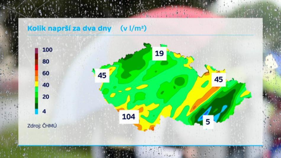 Úhrn předpokládaných srážek za pondělí a úterý