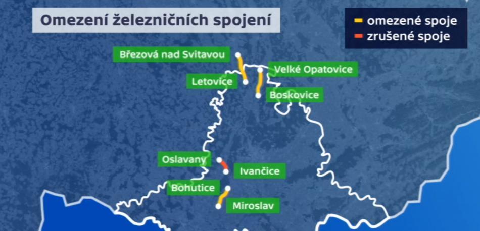 Omezení železničních spojů na jihu Moravy