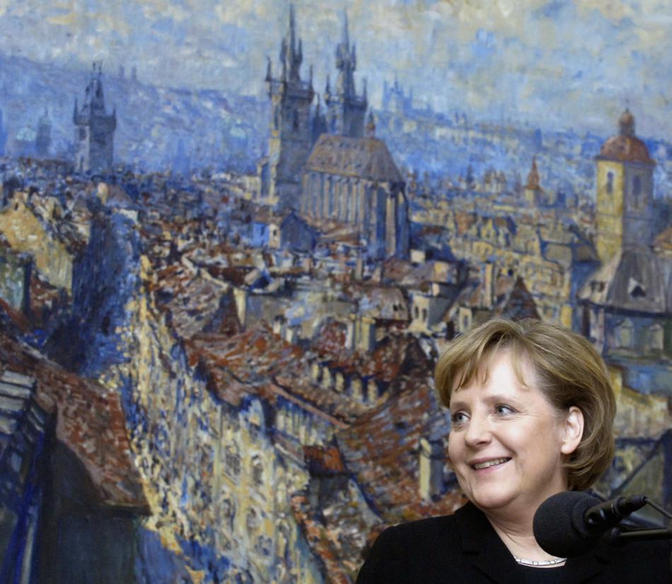 Merkelová při návštěvě české metropole v roce 2007