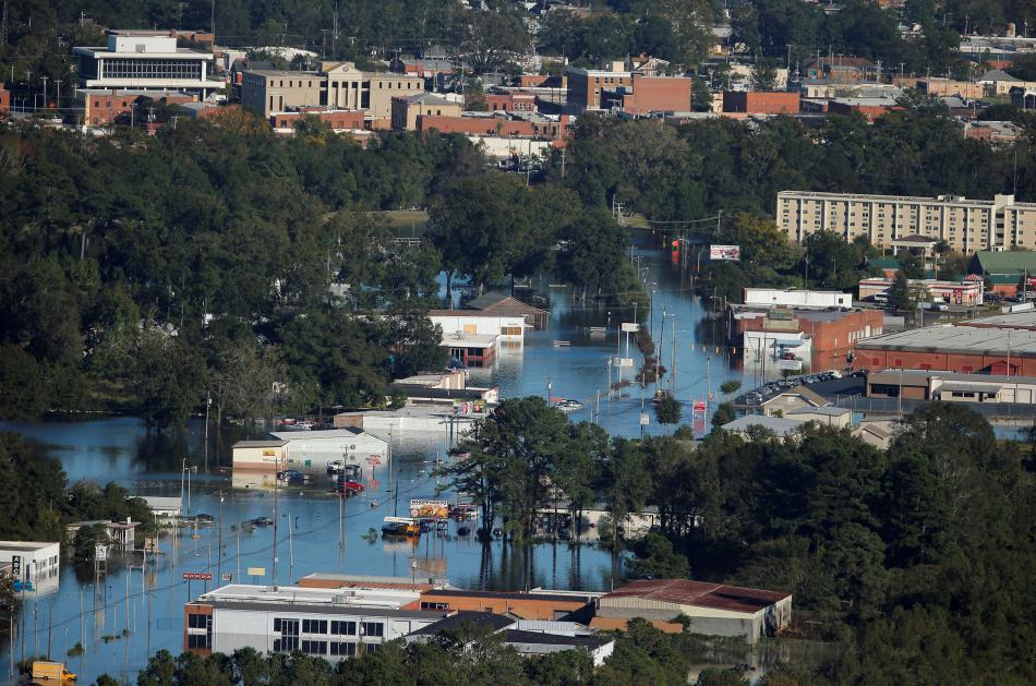 Severokarolínské město Lumberton zaplavené po hurikánu Matthew