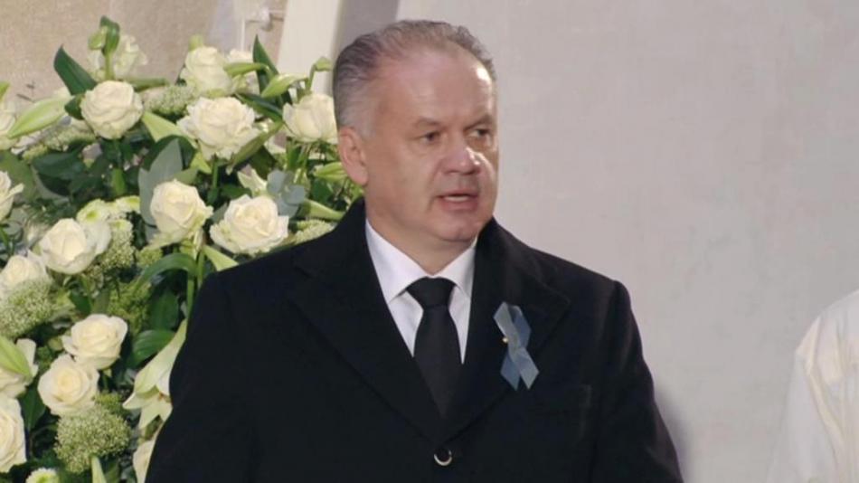 Andrej Kiska na pohřbu Michala Kováče