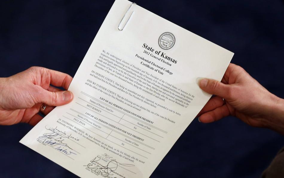 Potvrzení volitelských hlasů za stát Kansas (leden 2013)