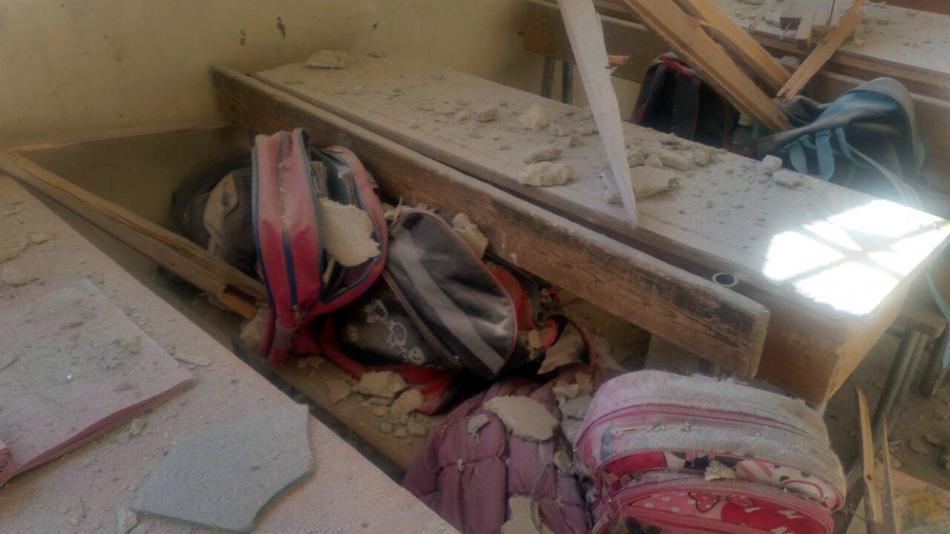 Zasažená škola v západní části Aleppa