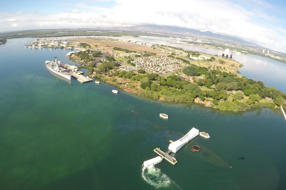 Letecký pohled na Pearl Harbor v roce 2016