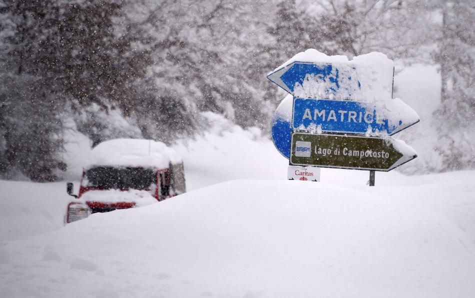 Situaci ve střední Itálii komplikují přívaly sněhu
