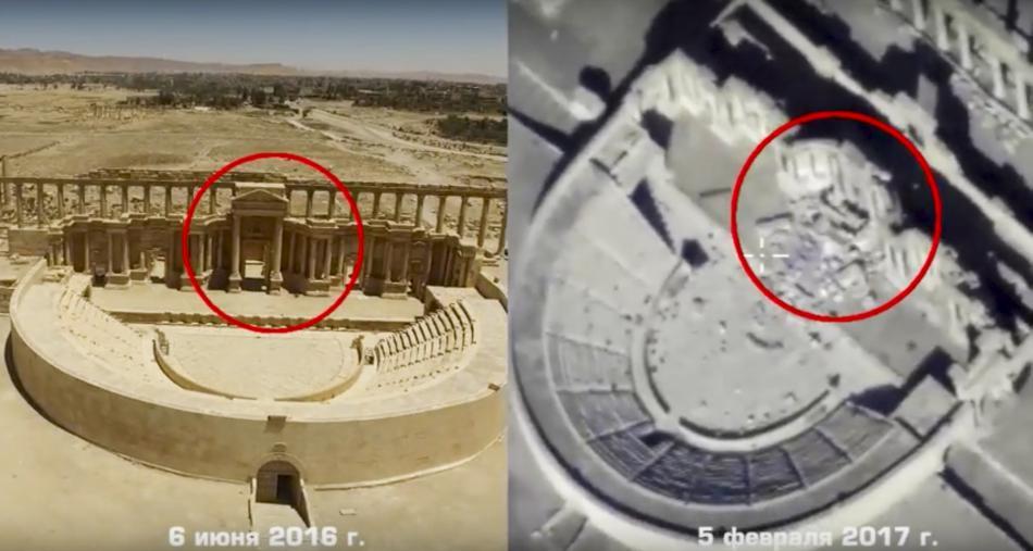 Ruské snímky poničené Palmýry