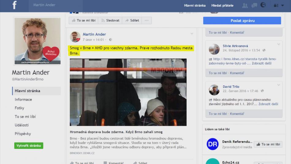 Dopravu zdarma sliboval náměstek Ander na Facebooku
