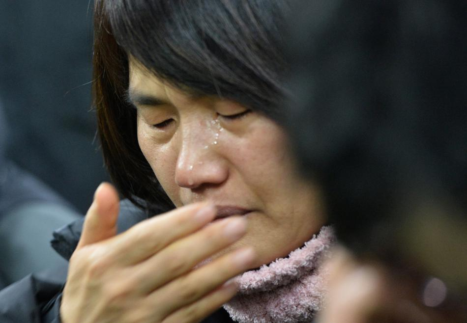 Příbuzní obětí z trajektu Sewol