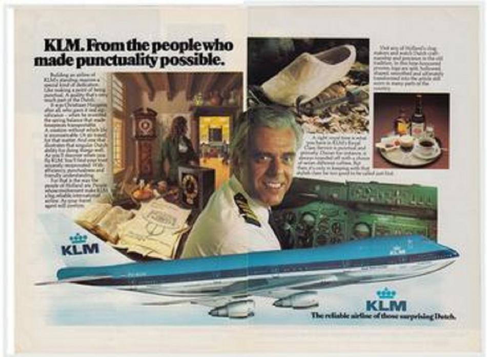 Kapitán Van Zanten byl tváří reklamních kampaní společnosti KLM