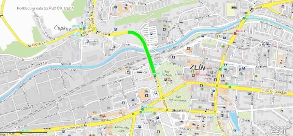 Místo dopravního omezení ve Zlíně
