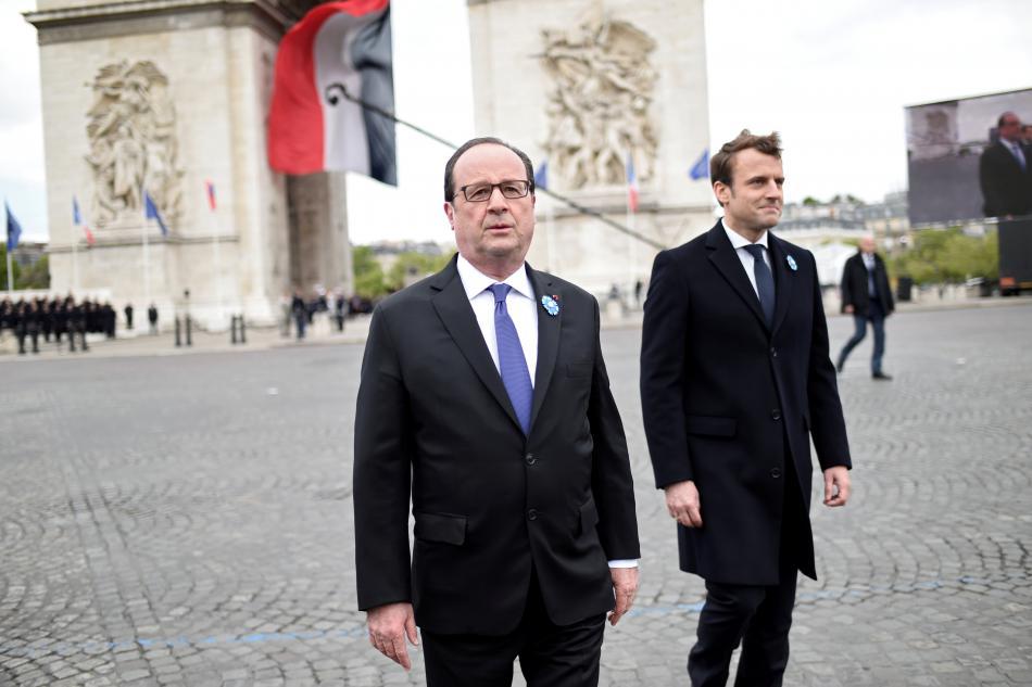Hollande a Macron při oslavách výročí konce války