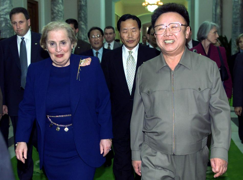 Albrightová s Kim Čong-ilem