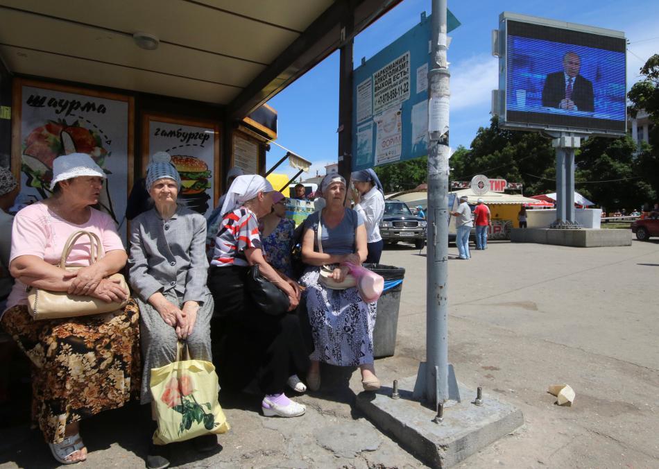 Putinova diskuse běžela živě na velkoplošných obrazovkách v Sevastopolu